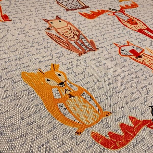 Dekostoff große Waldtiere mit Schriftzug