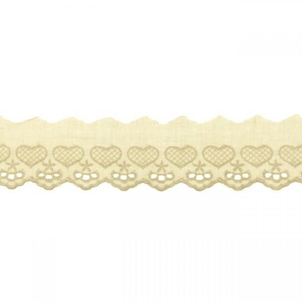 """Stickerei-Spitzenborte """"Herz"""", 5cm, beige(56)"""