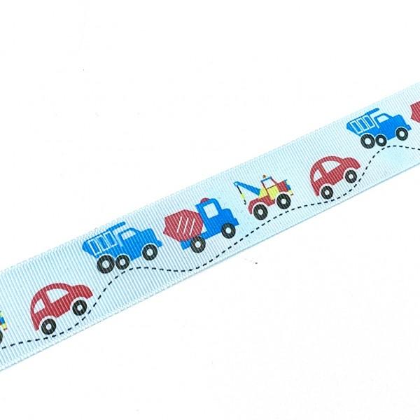 Ripsband Auto und Bagger hellblau, ca.2,5cm breit