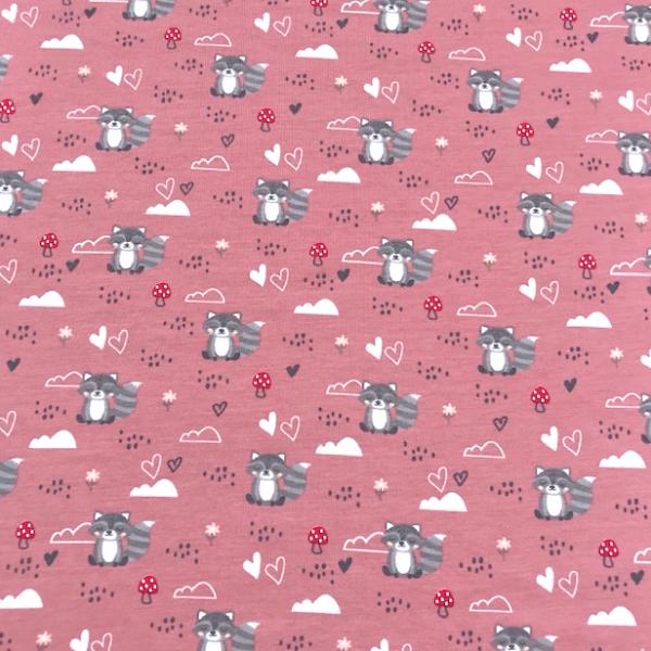Jersey süße kleine Waschbären & Fliegenpilze rosa