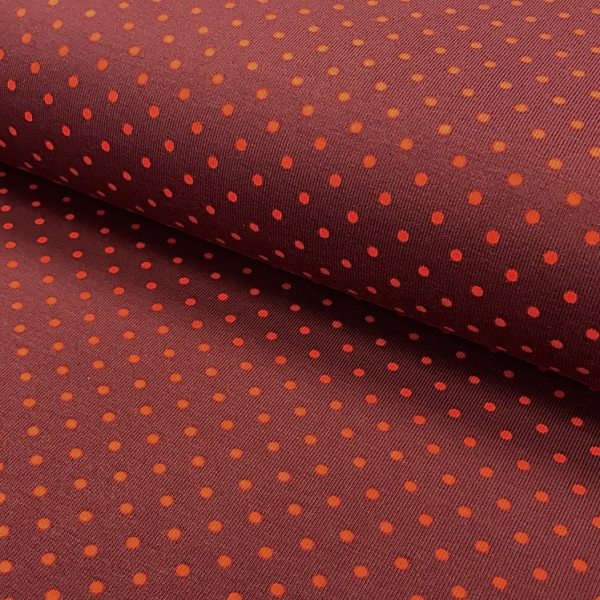 Jersey Punkte brique-orange 118 Motivgröße Punkt ca. 3mm