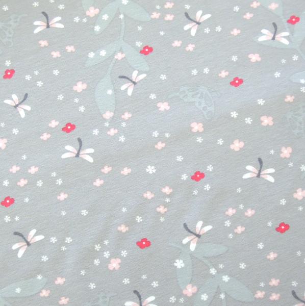 Jersey Libellen und kleine Blüten hellgrau