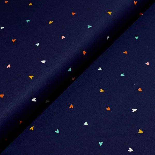 Kleine Herzen dunkelblau 100%BW Oeko-Tex