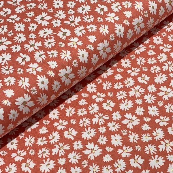 Jersey Foliendruck Blumen auf koralle