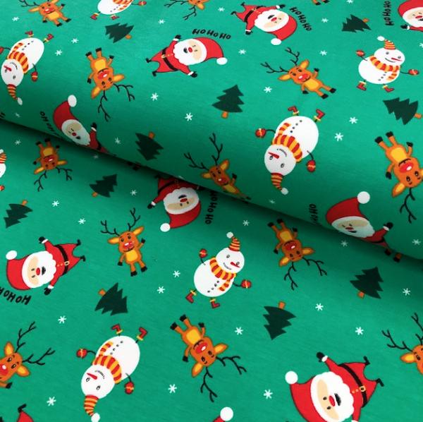 Jersey dunkelgrün Weihnachtsmann, Schneemann & Rentier HoHoHo