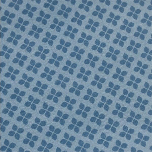 Stoff blau klein gemustert Kleeblätter