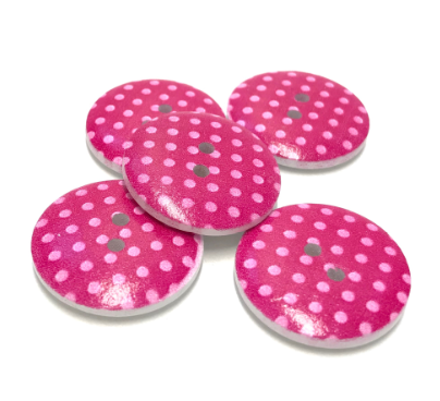 runde Holzknöpfe 5 Stk. in pink mit rosa Punkten 23mm