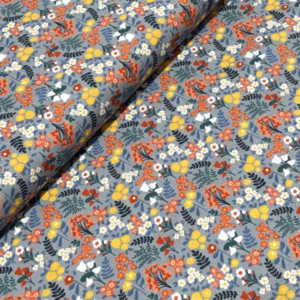 Kleine Blumenwiese grau-blau 100%BW Oeko-Tex