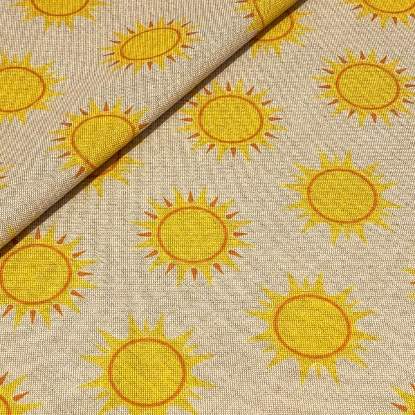 Dekostoff Sonne auf natur