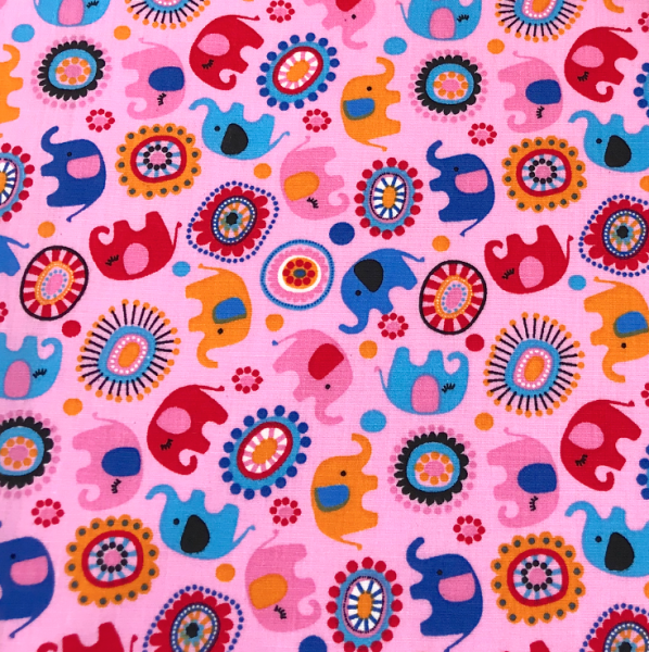 Stoff BW Elefanten & Circles rosa