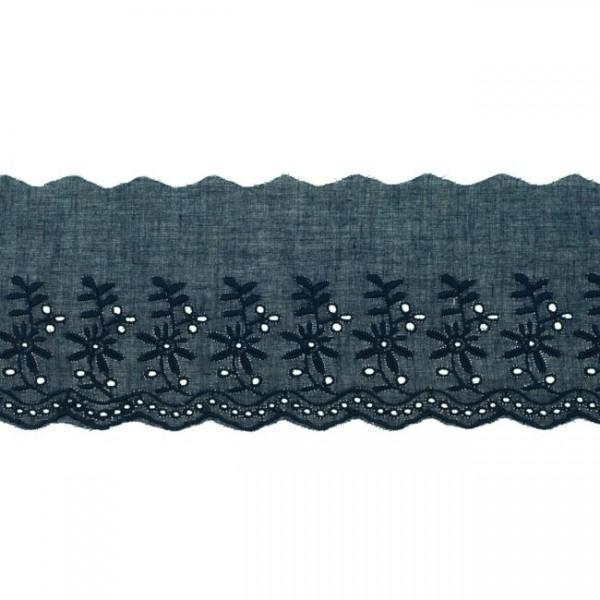 """Stickerei-Spitzenborte """"Blümchen"""", 9cm, marineblau(62)"""