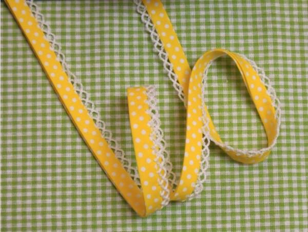 5m Schrägband Punkte mit Häkelborte gelb (05)