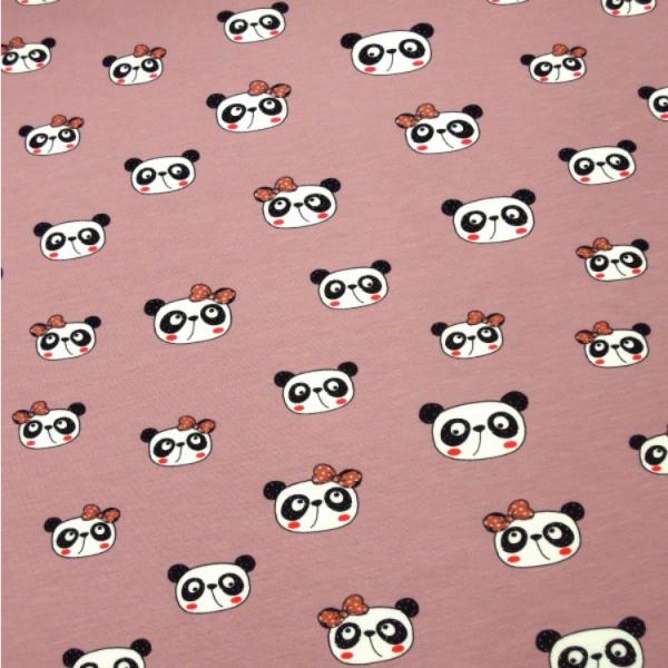 Jersey Panda Kopf mit Schleife rosa