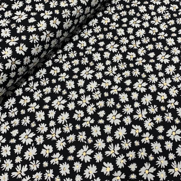 Jersey Foliendruck Blumen auf schwarz