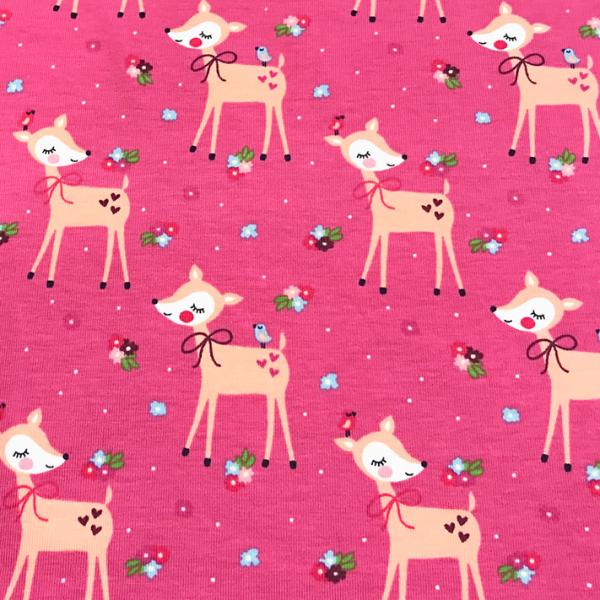 Jersey süßes Reh rosa-pink