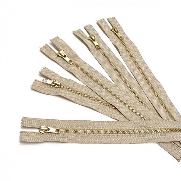 Reißverschluss, Metall 18cm, beige