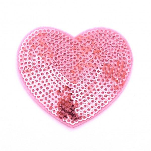 Pailletten-Applikation Herz rosa ca. 6x5,5cm