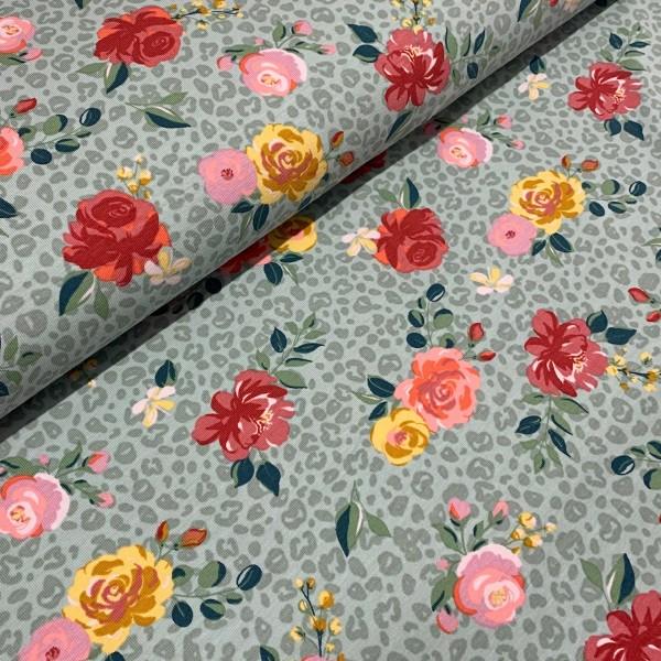 Jersey Rosen auf Leoparden-Muster Mint 200g/m2