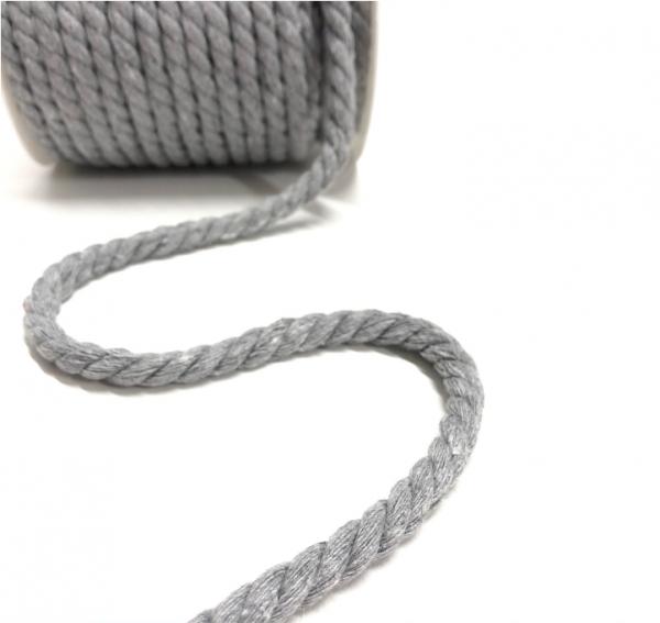 gedrehte Baumwoll-Kordel hellgrau melange, 8mm Durchmesser