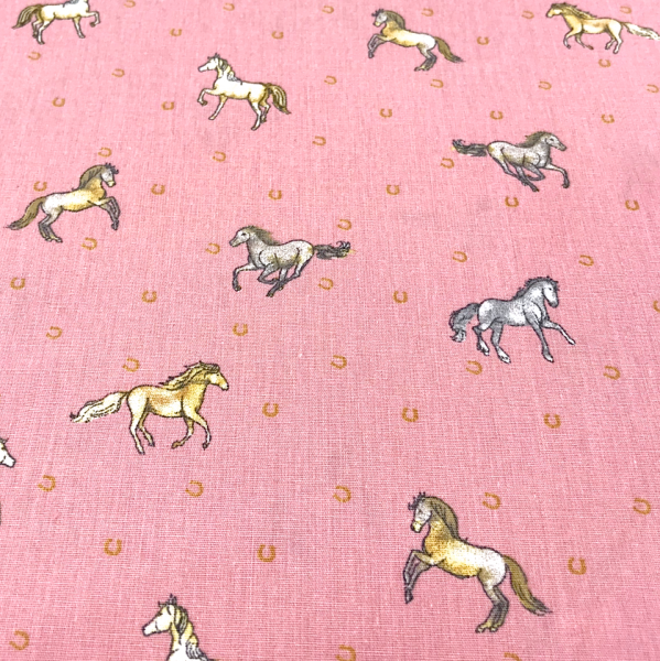Stoff Pferde & Hufeisen rosa