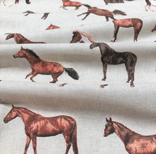 Dekostoff Leinenoptik Pferde