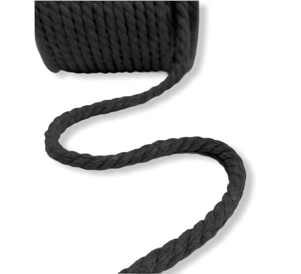 gedrehte Baumwoll-Kordel schwarz, 8mm Durchmesser
