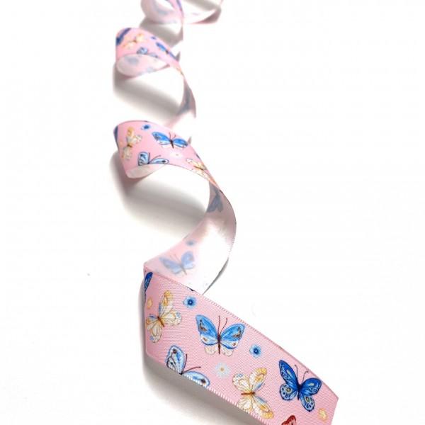 Ripsband Schmetterling rosa 25mm breit