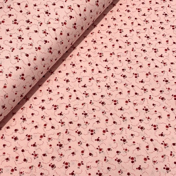 Patchworkstoff mini Rosen rosa 100%BW, 110cm breit