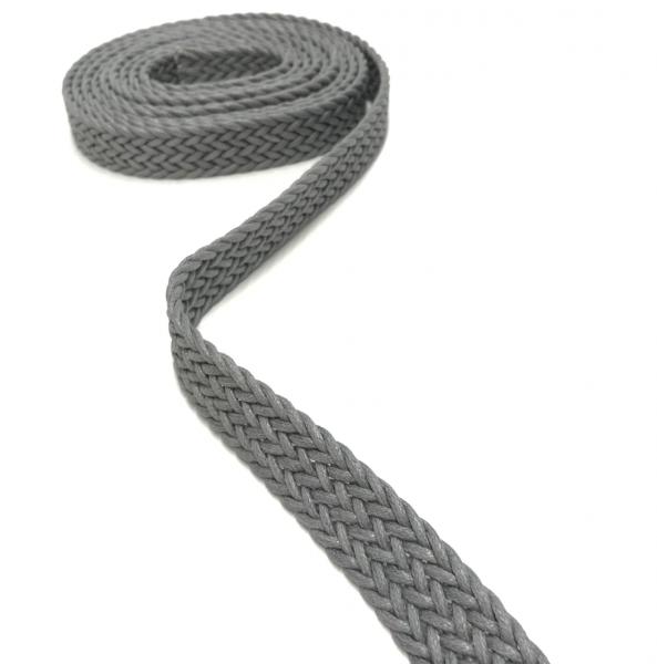 Gurtband, geflochten, für Taschengriffe, Gürtel, Schlüsselbänder, usw. 2,5 cm breit grau