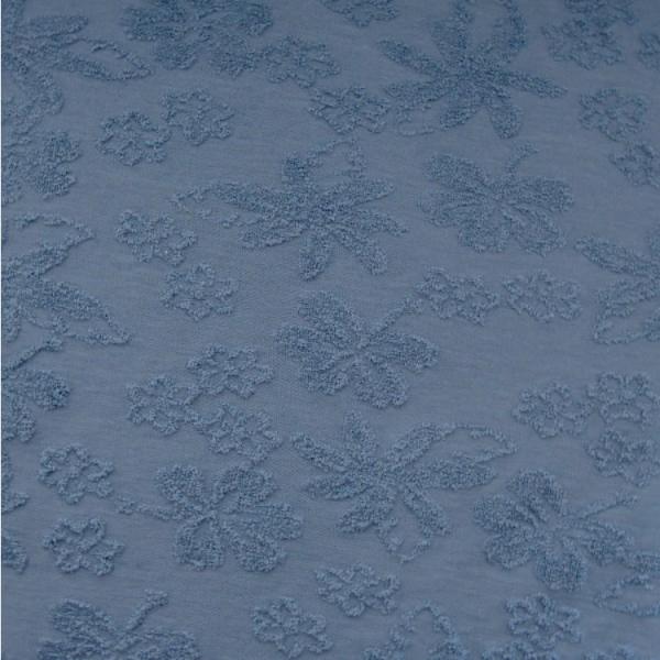 Jacquard Terry Blumen blau
