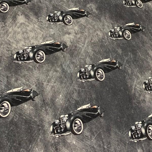 Dekostoff schwarze Autos auf anthrazit