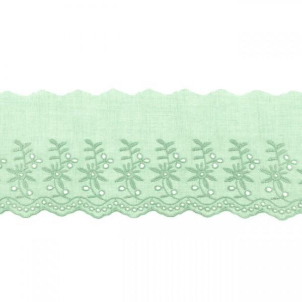 """Stickerei-Spitzenborte """"Blümchen"""", 9cm, rauchgrün(68)"""