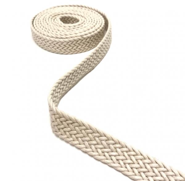 Gurtband, geflochten, für Taschengriffe, Gürtel, Schlüsselbänder, usw. 2,5 cm breit weiß/ natur