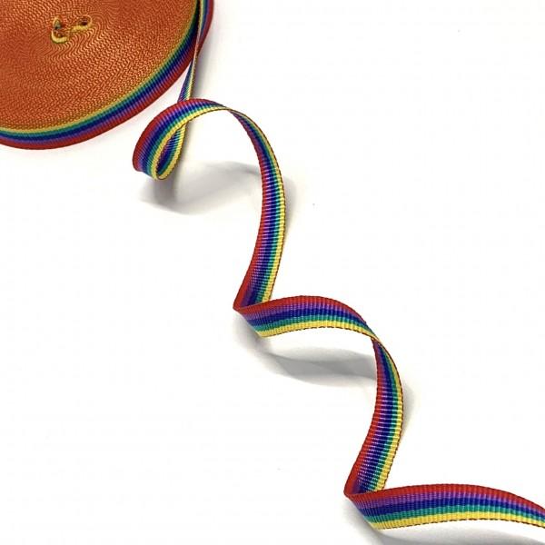 Gurtband Polyester Regenbogen, 15mm breit