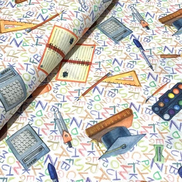 Schule Taschenrechner-Geodreieck auf Buchstaben 100%BW