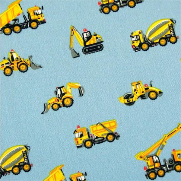 Baufahrzeuge auf hellblau