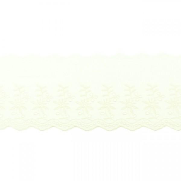 """Stickerei-Spitzenborte """"Blümchen"""", 9cm, offwhite(70)"""