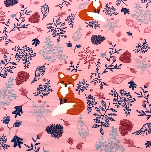 Dekostoff Fuchs im Laub rosa
