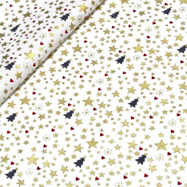 Weihnachtsstoff Glitzer Sternchen auf weiß 100%BW