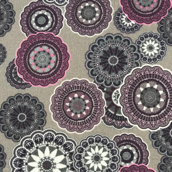 Dekostoff Ornamente grau-violett Canvas