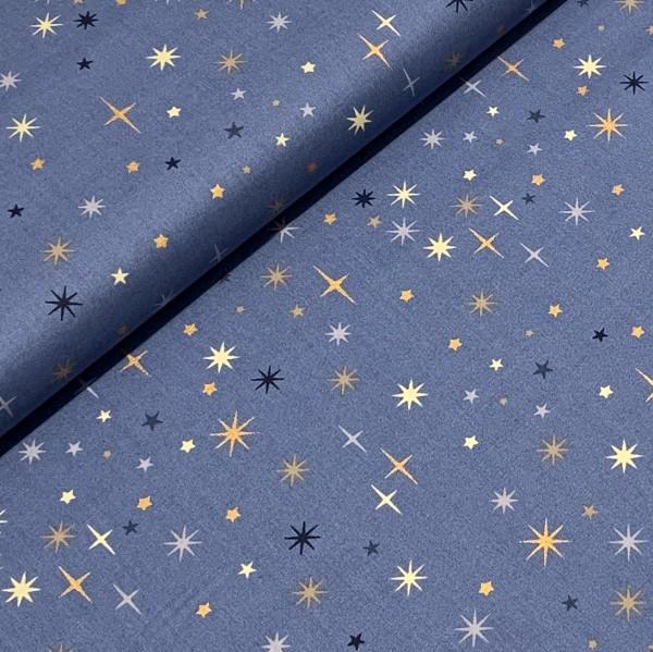 Weihnachtsstoff Sterne mittelblau 100%BW