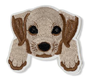 Aufnäher Puppy s/w, ca. 8 x 8,5 cm