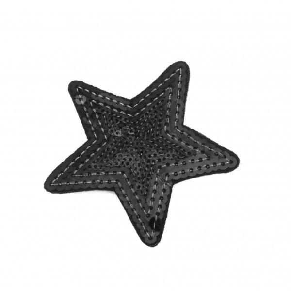 Pailletten-Applikation Stern schwarz ca. 7,5cm