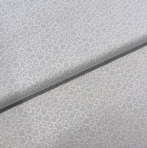 Patchworkstoff Pastellherzen hellgrau, 110cm breit