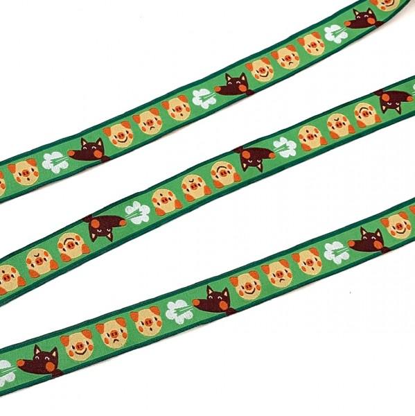Webband Schweine und Wolf grün, ca.16mm breit