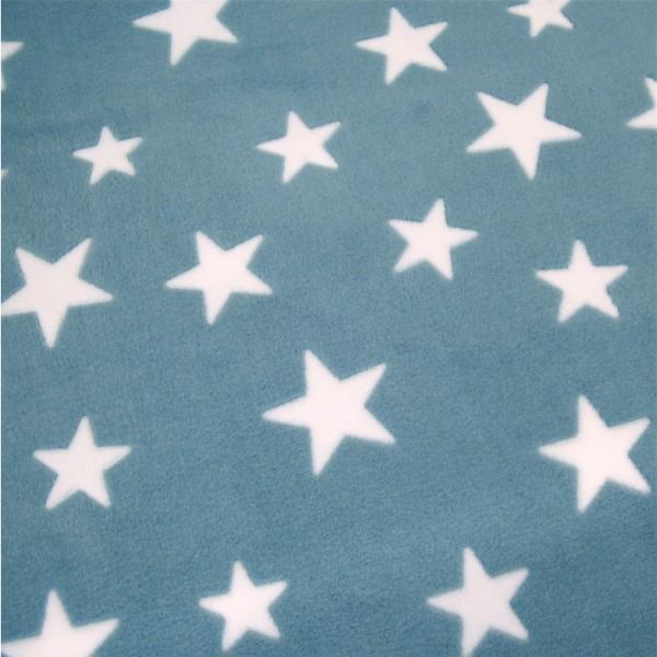 Microfleece Sterne aqua-weiß, Wellnessfleece
