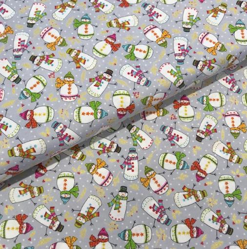 Patchworkstoff Schneemänner auf hellgrau, Weihnachtsstoff 110cm breit