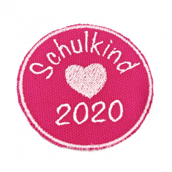 Schulkind 2020 rund in Pink Bügel-Applikation