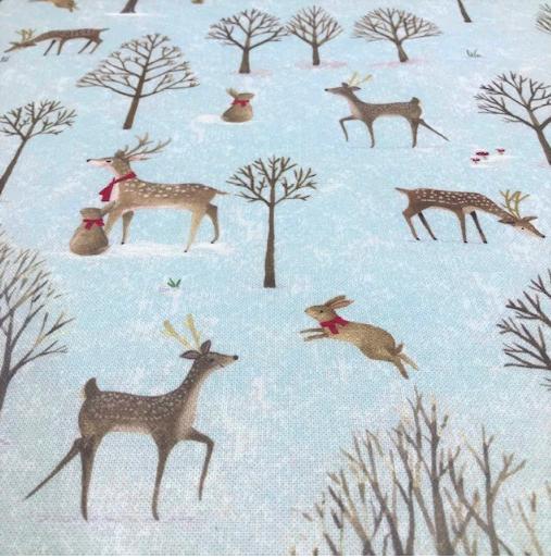 Canvas Winterwonderland, Rehe auf eisblau