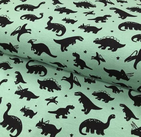 Jersey schwarze Dinosaurier auf mintgrün